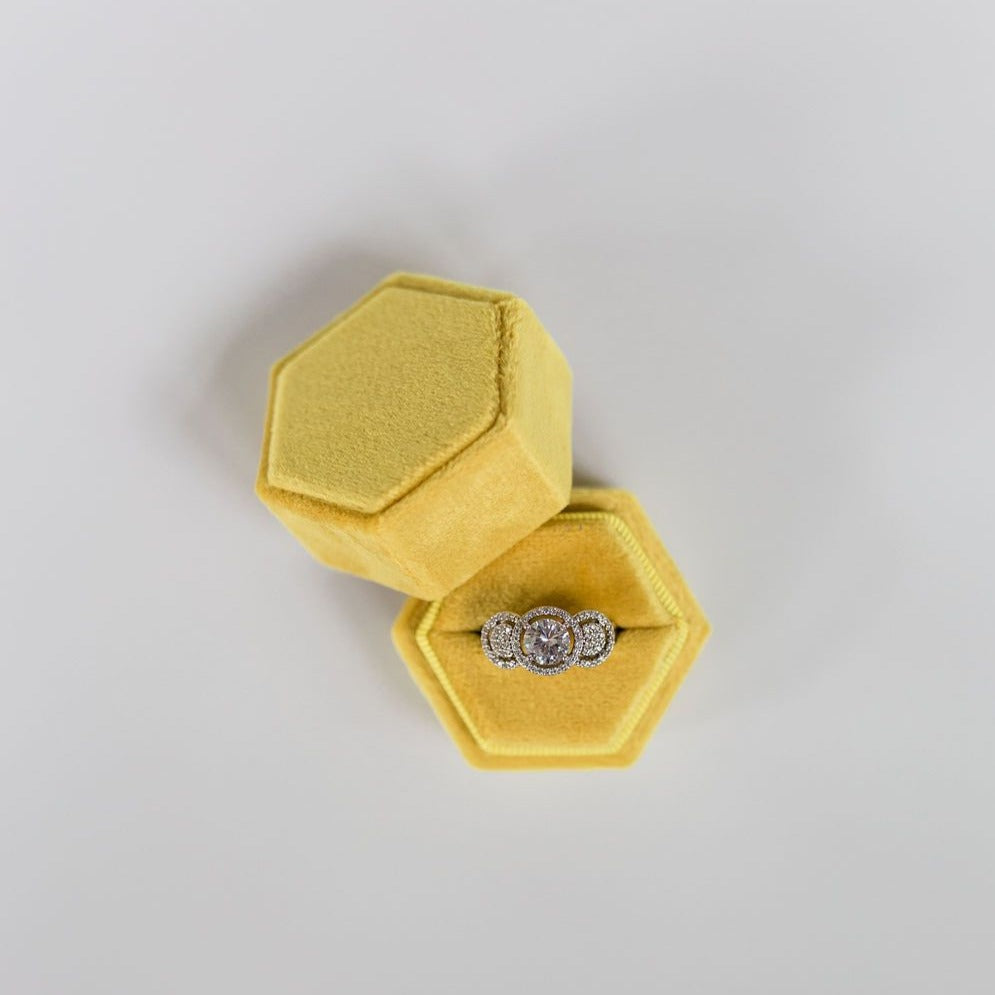 Yellow Hexagon Velvet Ring Box