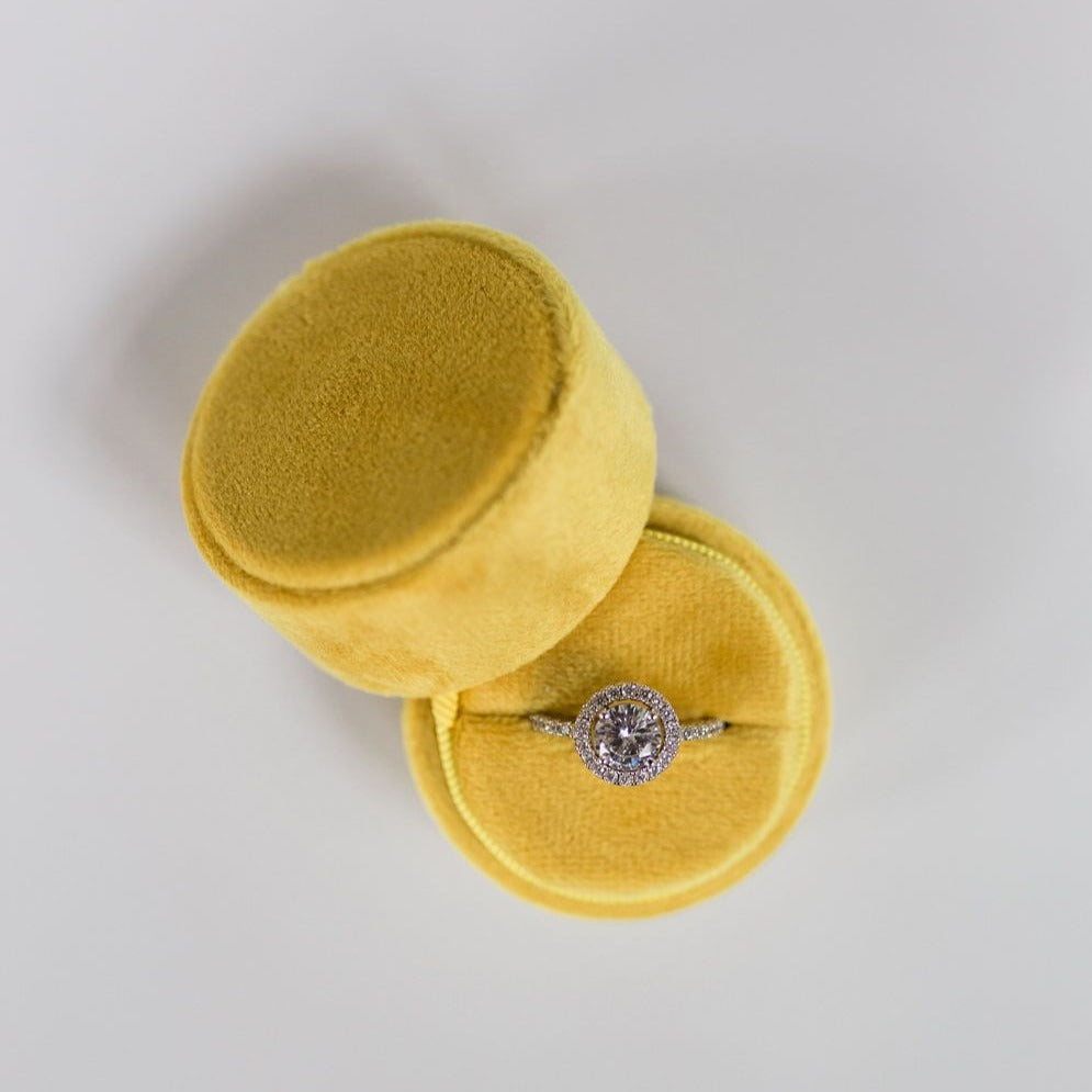 Yellow Round Velvet Ring Box