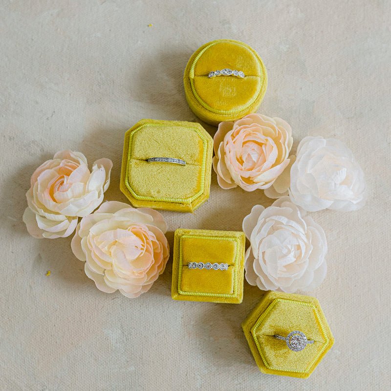 Yellow Square Octagon Velvet Ring Box