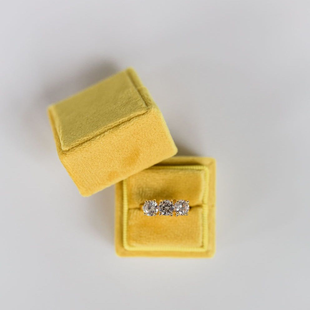 Yellow Square Velvet Ring Box