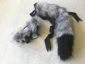 Luxury Artic Grey & Black Kitten/Wolf Play Set.