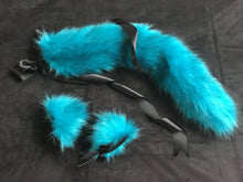 Load image into Gallery viewer, Gorgeous Turquoise Black Kitten / Wolf Play Set BDSM
