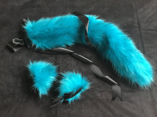 Gorgeous Turquoise Black Kitten / Wolf Play Set BDSM
