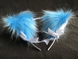 Luxury Azure Blue And White Kitten Ears