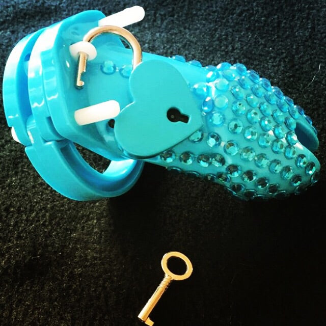 A Beautiful Blue Male Chastity Cage Device