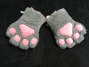 Beautiful Grey & Pink Faux Fur Gloves, Cosplay,Kawaii,