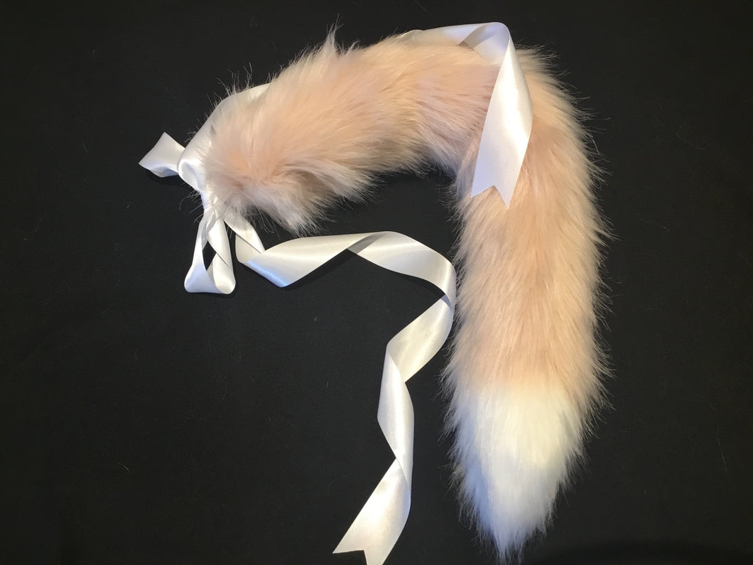 Luxury Peachy Pink & White Kitten / Wolf Play Tail ,BDSM