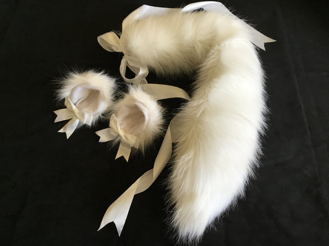 Luxurious Pure White Kitten/ Wolf Play Set, BDSM, Cosplay.