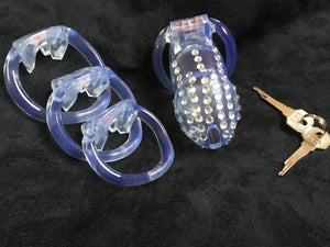 A Beautiful Clear Resin Male Chastity Cage Device