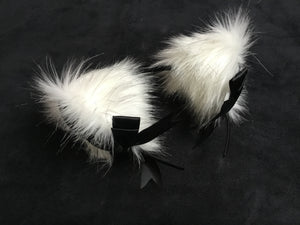 Stunning Artic White & BlackKitten/Wolf  Ears, BDSM.