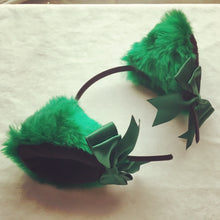 Load image into Gallery viewer, Luxury Emerald Green And Black Kitten Ears