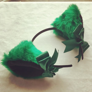 Luxury Emerald Green And Black Kitten Ears