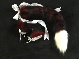 Gorgeous Burgundy Wine & White Kitten - Wolf Play Set