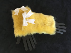 Luxury Yellow Faux Fur Cuffs