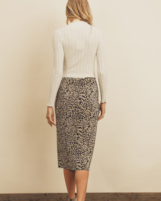 CHEETAH PLEATED PENCIL SKIRT