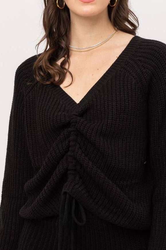 FRONT TIE SWEATER IN BLACK