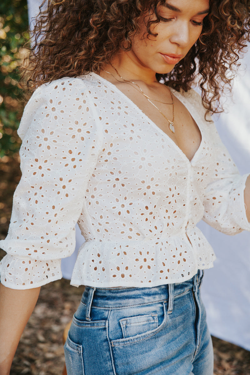 Beach Bliss Eyelet Peplum Top