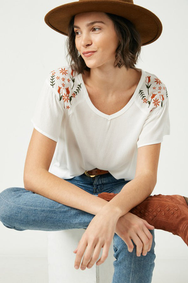 Dainty Flutter Embroidered Floral Top