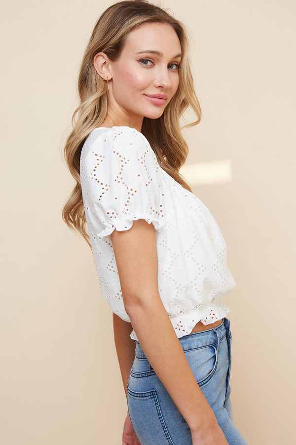 EYELET CROPPED BABY DOLL TOP