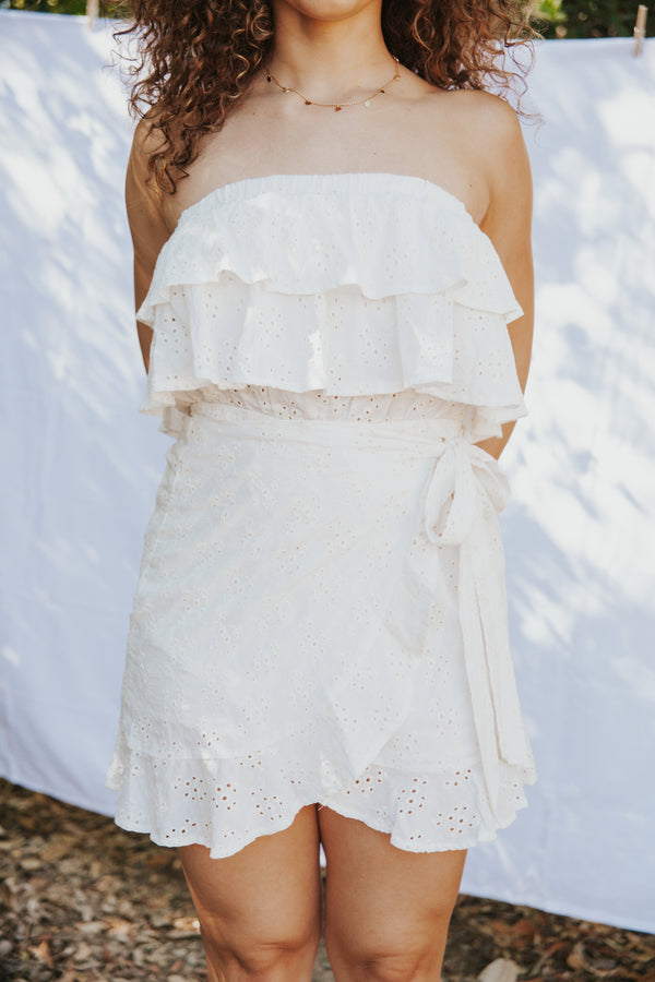 Eyelet Ruffled Strapless Mini Dress