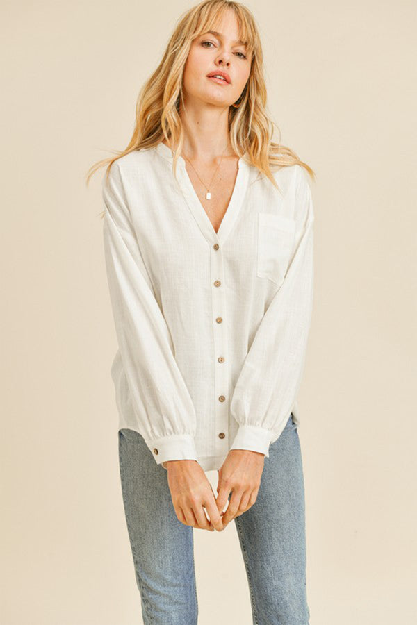 MELROSE IVORY OVERSIZED LINEN BUTTON DOWN TOP