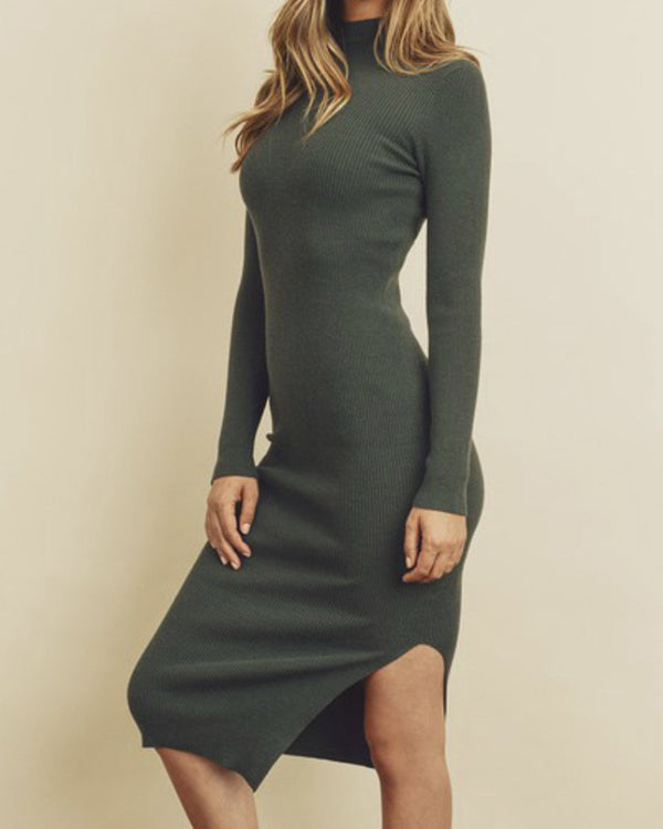 Green Ribbed Knit Mock Neck Dress