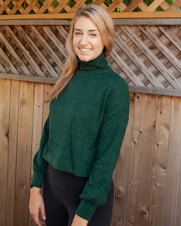 Mary Ribbed Green Mock Neck Sweater