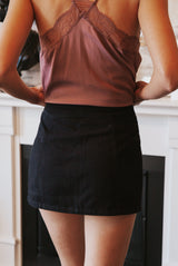 May B. Chic All Buttoned Up Black Denim Skirt