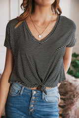 May B. Chic Anchors Away Striped Knotted Short Sleeve Top