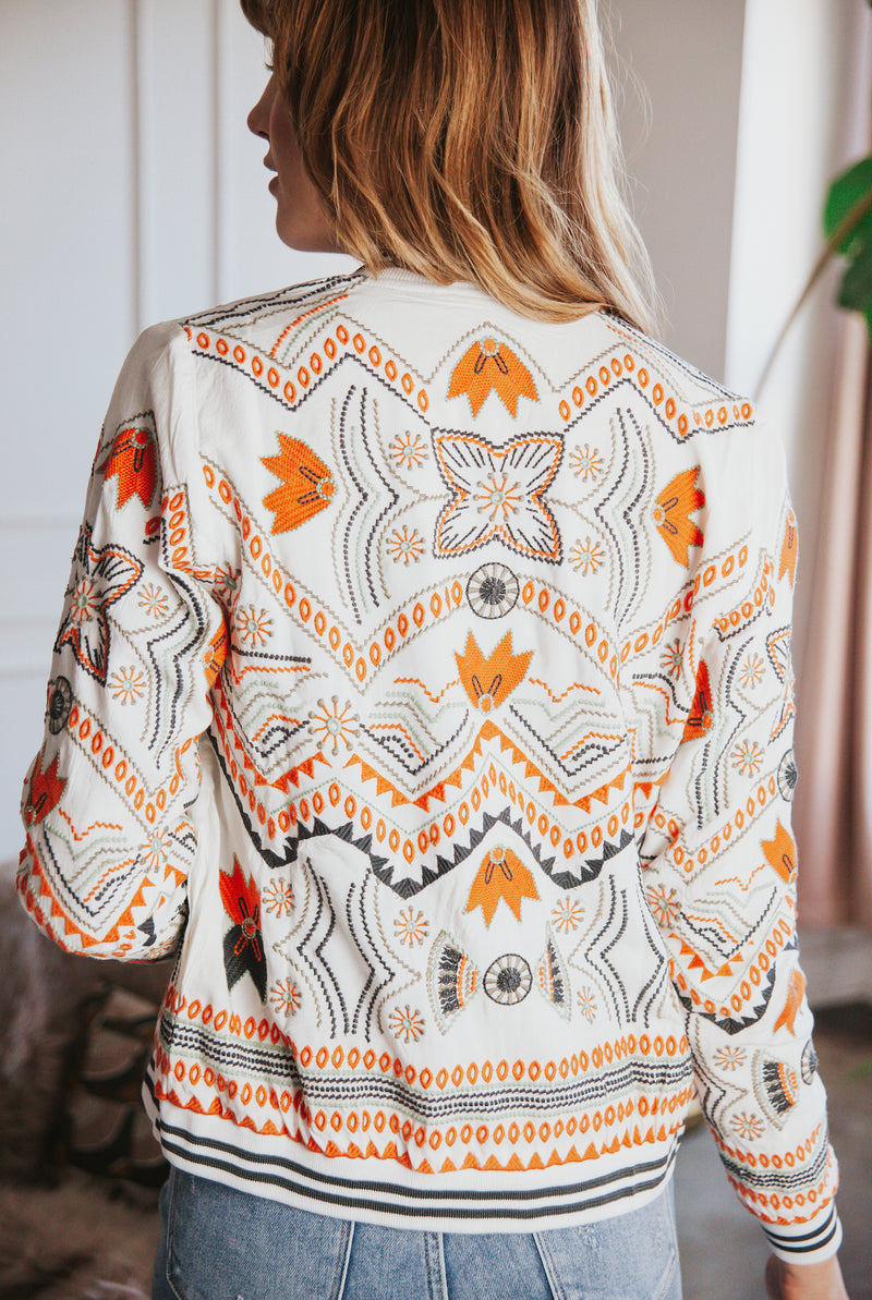 May B. Chic Embroidered Bomber Jacket