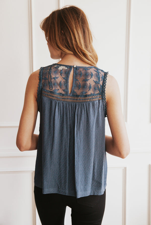 May B. Chic Chase the Blues Away Crochet & Lace Tank