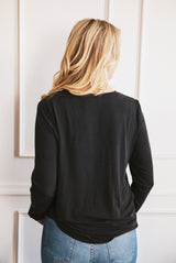 May B. Chic Cozy Up Black Tie Long Sleeve