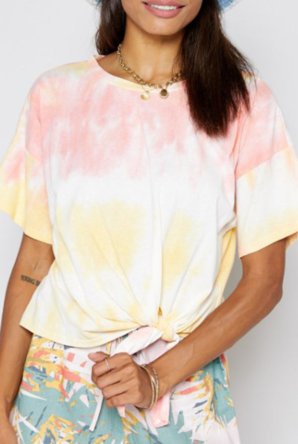 May B. Chic Yellow Tie Dye Top With Pink
