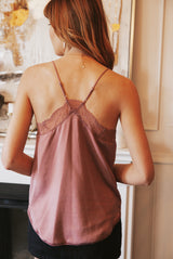May B. Chic Feeling Myself Lace Tank in Mauve