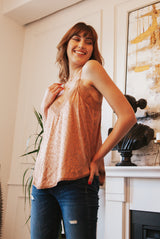 May B. Chic Feeling Myself Lace Tank in Rose Gold Leopard