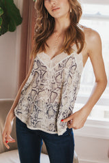 May B. Chic Feeling Myself Lace Tank in Snake Skin