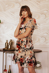 May B. Chic Flower Goddess Burnout Velvet Wrap Dress