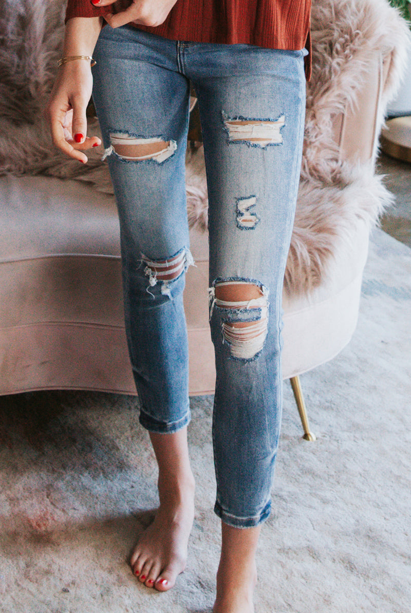 May B. Chic Gunfire High Rise Heavily Distressed Crop Skinny Jeans