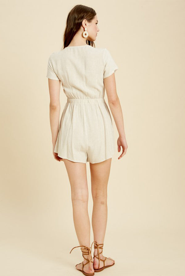 May B. Chic Jen Front Tie Linen Romper in Oatmeal
