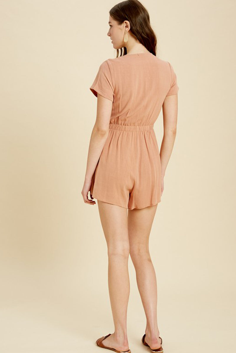 Back of Peach Tie Front Romper