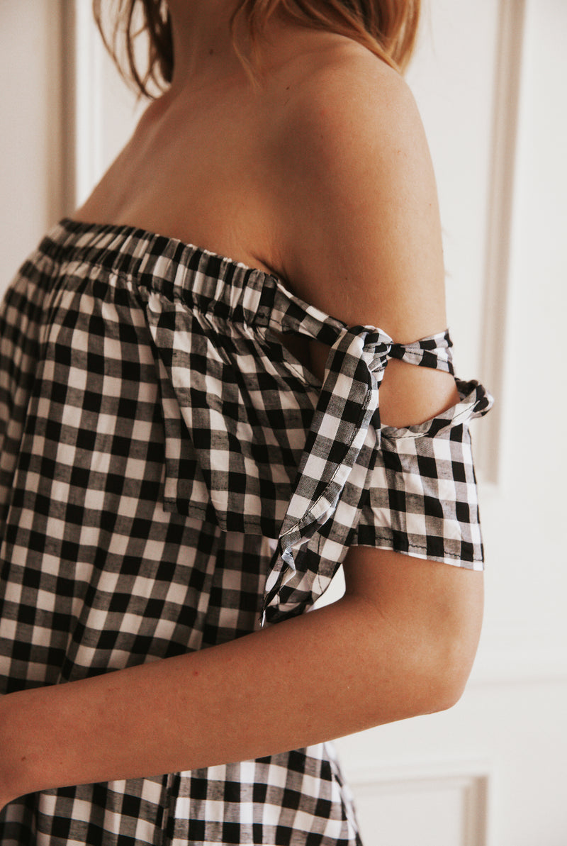 May B. Chic Picnic Perfect Gingham Off Shoulder Dress