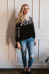 May B. Chic Sway Embroidered Top
