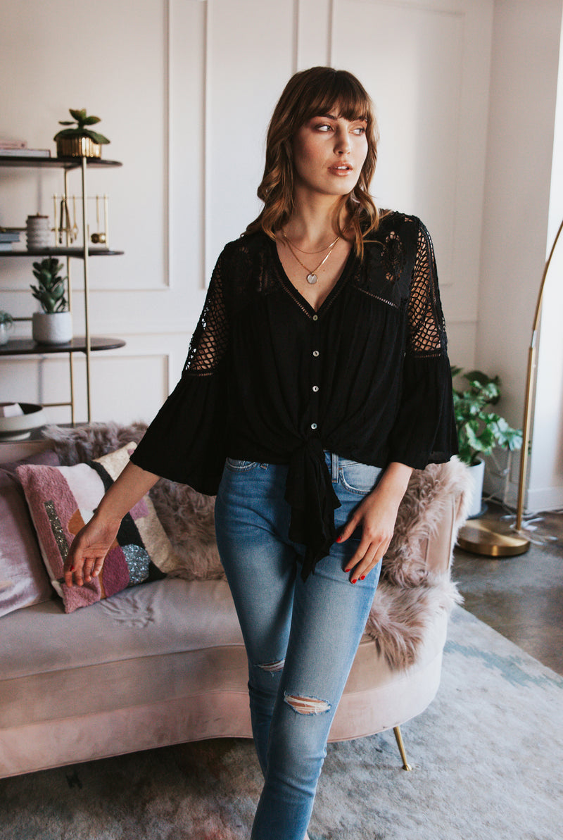 May B. Chic Sweet Love Lace Tie Front Top