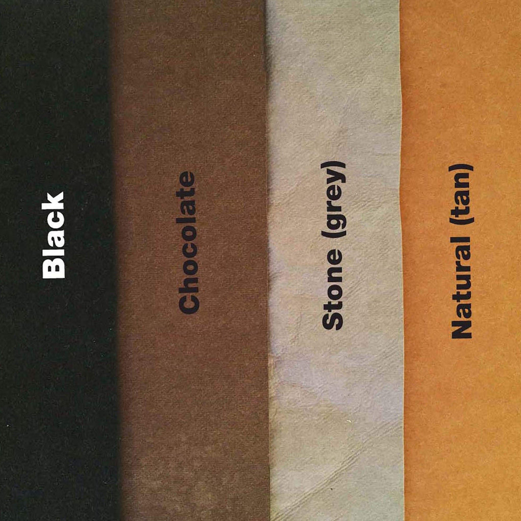 Choose from four colours – black, tan (natural), chocolate and grey (stone).