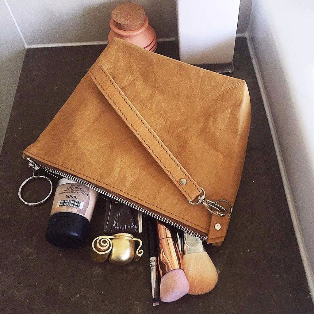 Eco and vegan friendly make-up or toilet bag, made from Washable Paper.