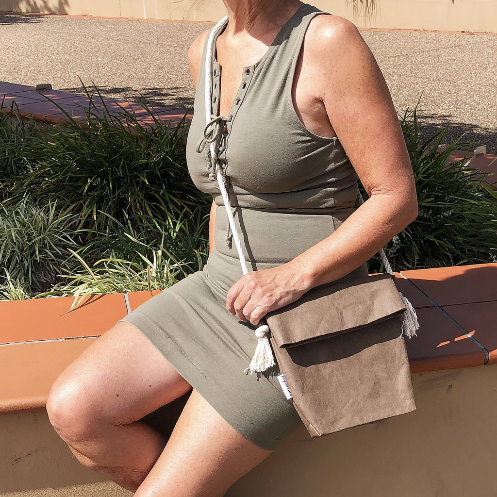 The Washable Paper 'field bag' is attractive enough to wear with your party dress and heels but casual enough to take when wearing your jeans and a T-shirt.
