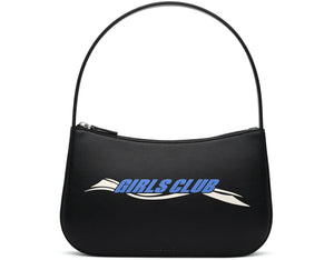 GIRLS CLUB BLACK LEATHER SHOULDER BAG