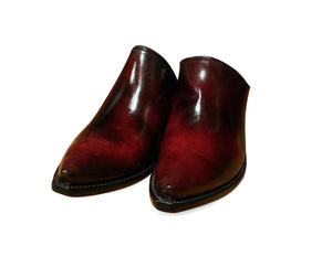 CHERRY LEATHER LOW BOOTS