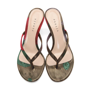 ALPHONSUS BROWN HEEL SANDALS