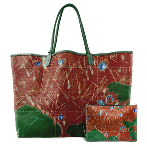 INVERTED LETRONNE RED LEATHER TOTE